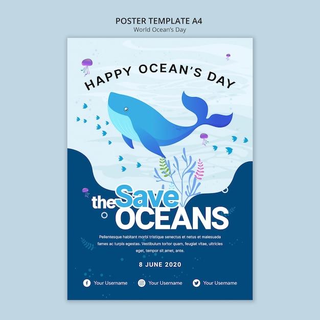 Шаблон постера с темой дня мирового океана Бесплатные Psd