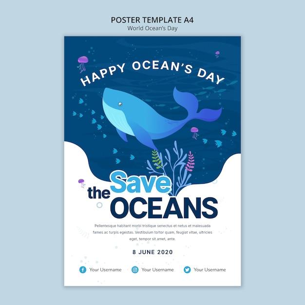 Шаблон постера с днем мирового океана Бесплатные Psd