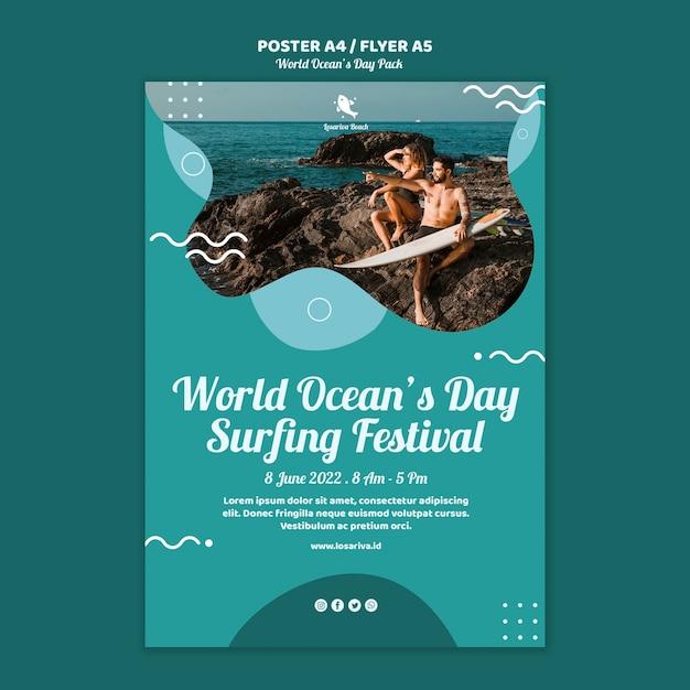 Шаблон плаката с концепцией всемирного дня океанов Бесплатные Psd
