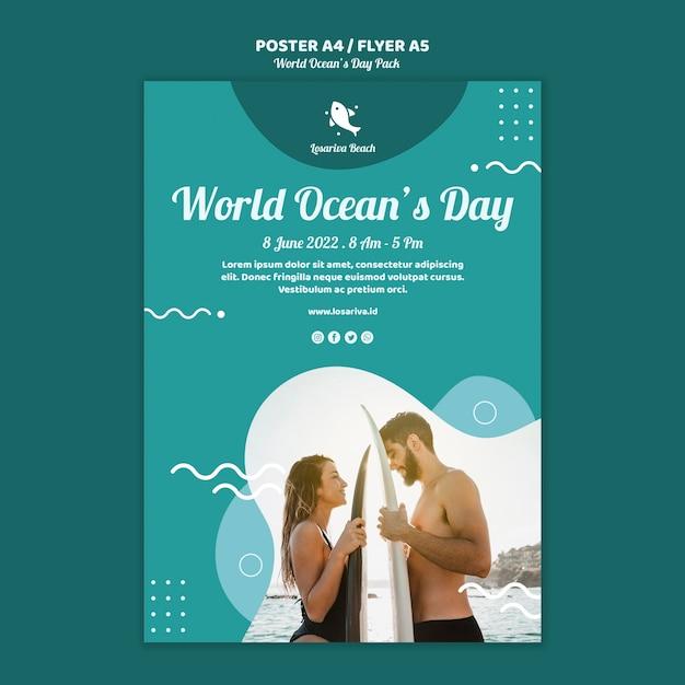 Шаблон плаката с всемирным днем океанов Бесплатные Psd