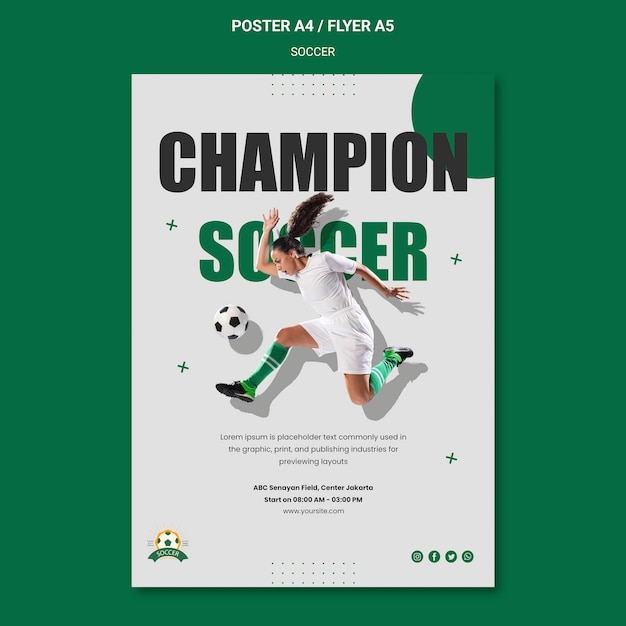 Poster template for women's football league Free Psd