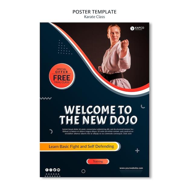 Modello di poster per le lezioni di karate femminile Psd Gratuite