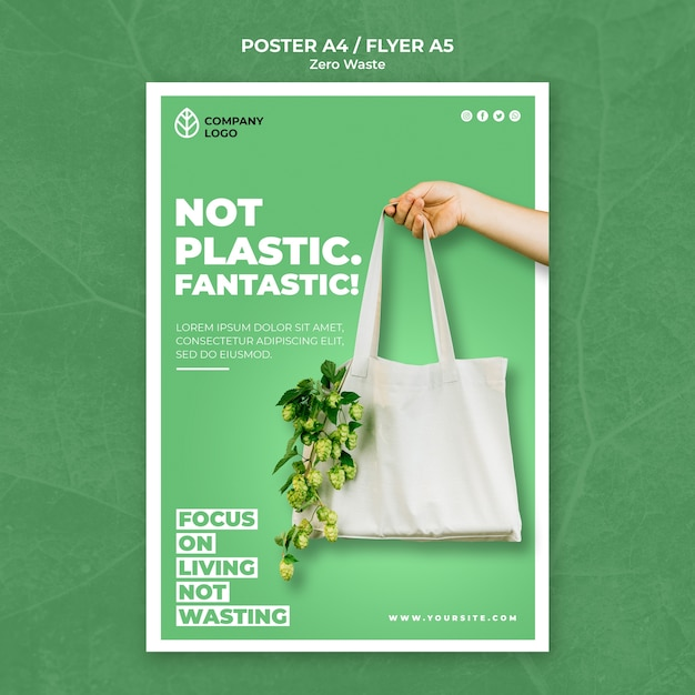 Poster template for zero waste Free Psd