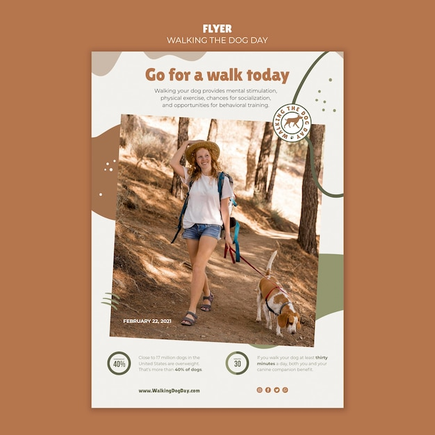 Poster walking the dog day template Free Psd