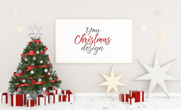 Poster on a wall with christmas decoration mockup Premium Psd