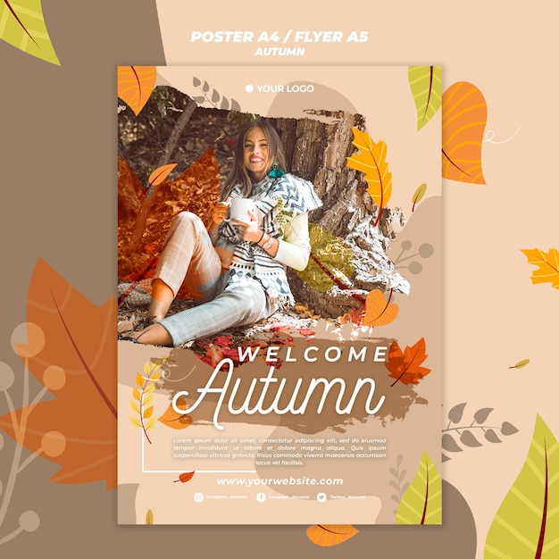 Poster for welcoming the autumnal season Free Psd