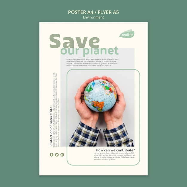 Плакат с темой окружающей среды Бесплатные Psd