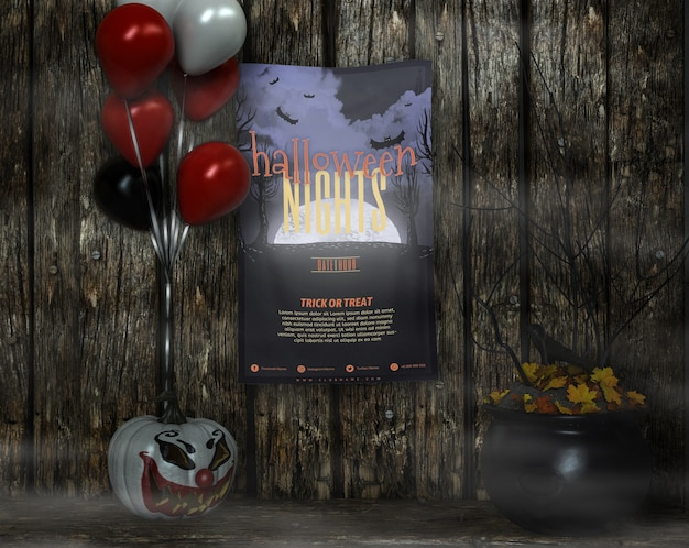 Poster with halloween nights mock-up and balloons Free Psd