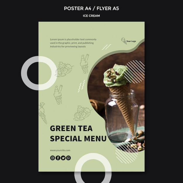 Постер с дизайном мороженого Бесплатные Psd