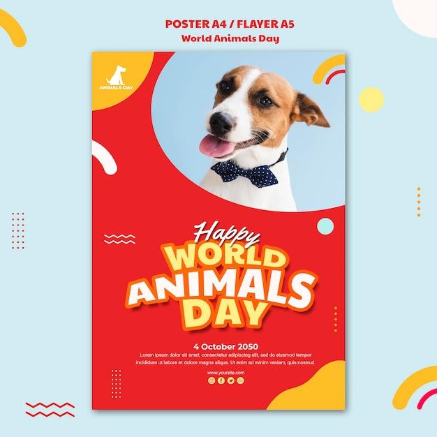 Шаблон плаката всемирный день животных Бесплатные Psd