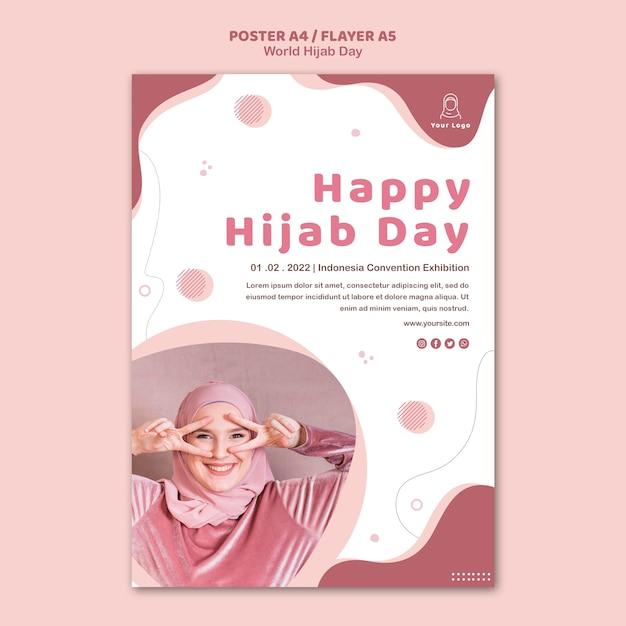 Poster per la celebrazione della giornata mondiale dell'hijab Psd Gratuite