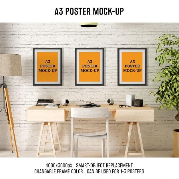 Posters mock up design Free Psd