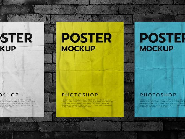 Постеры на фоне кирпичной стены Premium Psd