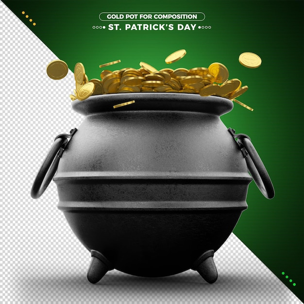 Pot of gold coins 3d st. patrick's day for composition Premium Psd