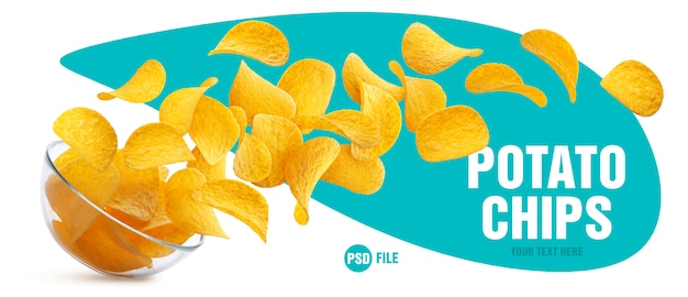 Potato chips falling from glass bowl Premium Psd