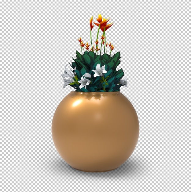 Potted flowers isolated. modern golden flower pot. transparent wall. front view. Premium Psd