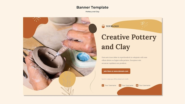 Pottery and clay ad banner template Free Psd
