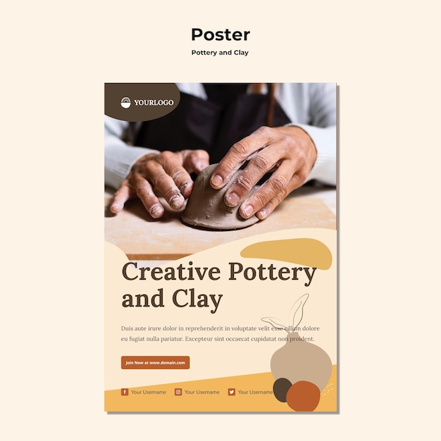 Pottery and clay ad template poster Free Psd