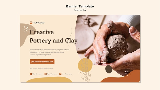 Pottery and clay banner template Free Psd