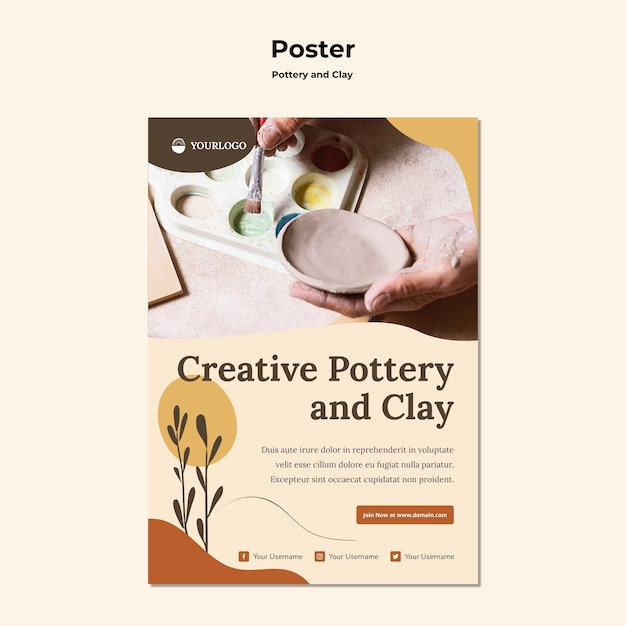Pottery and clay template poster Free Psd