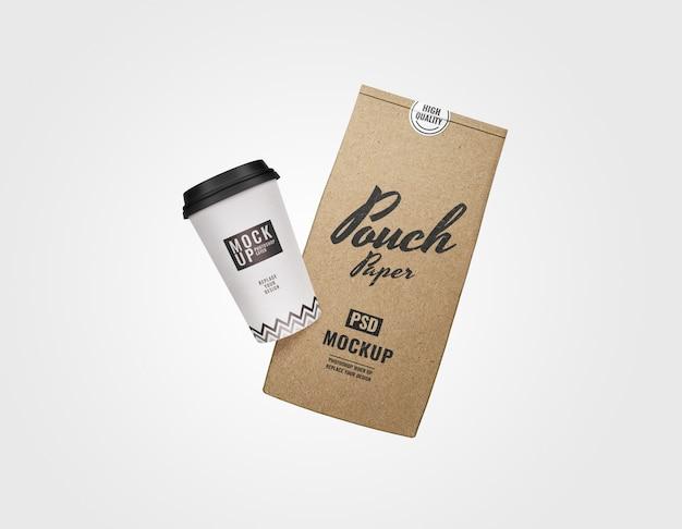 주머니와 커피 컵 이랑 프리미엄 PSD 파일