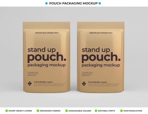 食品コンセプトのポーチパッケージモックアップデザイン Premium Psd