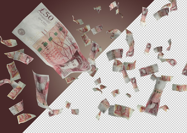 Pounds money rain - hundreds of 50 pounds falling from the top Premium Psd