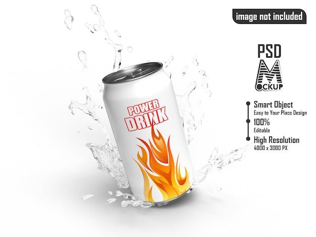 Power drink олово брызг воды макет Premium Psd