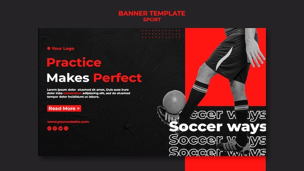 Practice makes perfect soccer banner template Free Psd