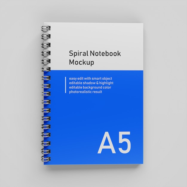 Premium a5 single bussiness hardcover spiral binder notebook mock up design template in top view Premium Psd