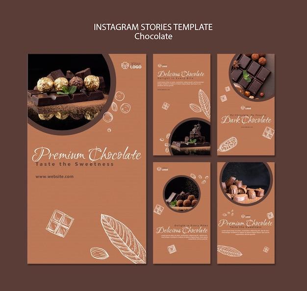 Премиум шаблон шоколадных историй instagram Бесплатные Psd