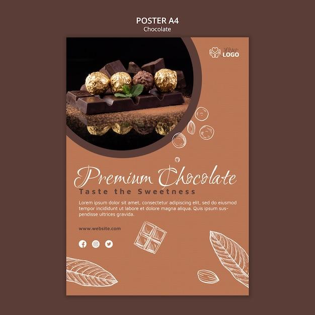 Шаблон премиального шоколадного плаката Бесплатные Psd