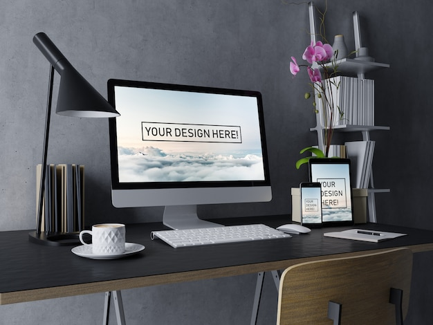 Premium desktop, tablet, and smartphone mock up design template with editable screen in contemporary black interior workspace Premium Psd