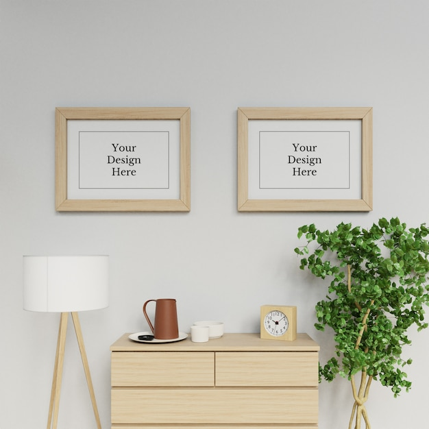 Premium double a2 poster frame mockup design template hanging landscape in contemporary interior Premium Psd