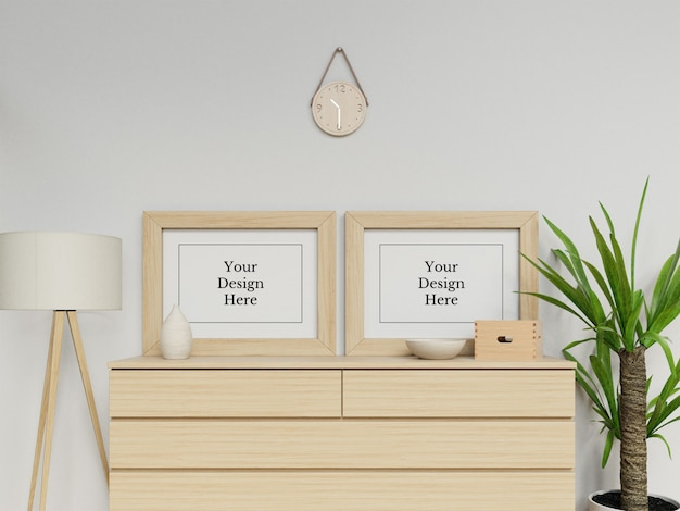 Premium double poster frame mockup design template sitting landscape in modern interior Premium Psd