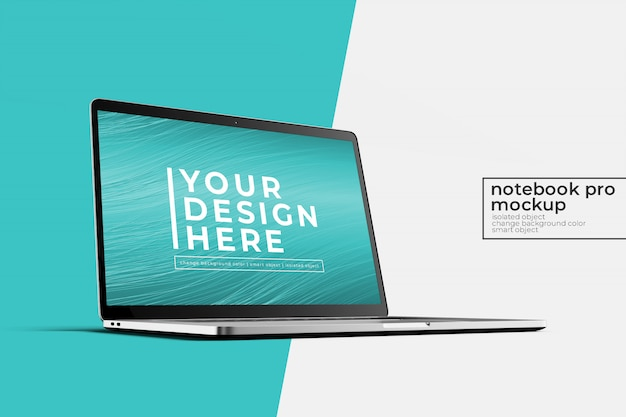 Premium quality 15'4 inch laptop notebook pro for website, ui  and apps  mock up   in left side front view Premium Psd