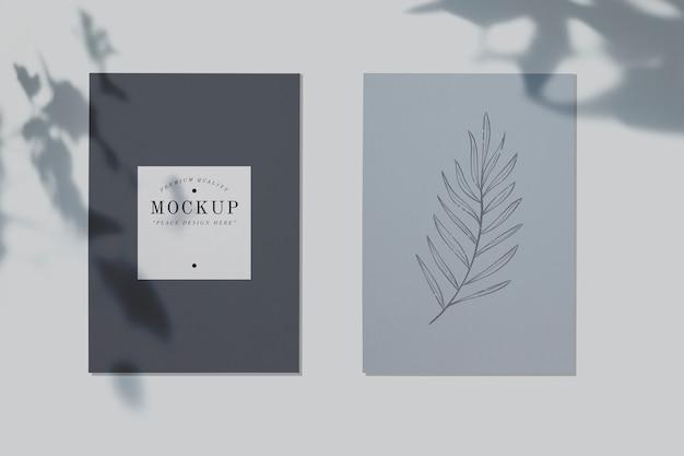 Mockup di carte di qualità premium con un design a foglia Psd Gratuite