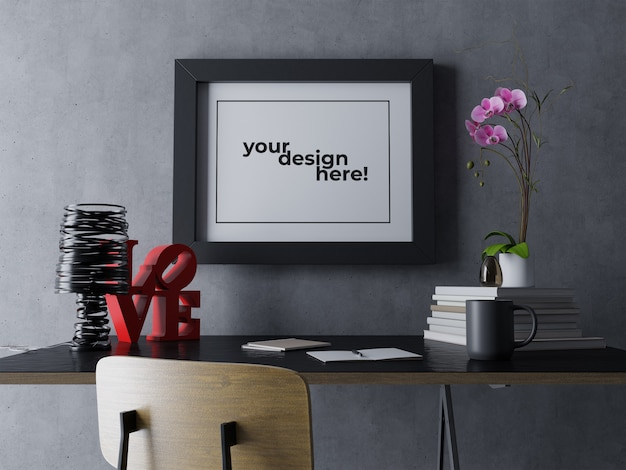 Premium single artwork frame mock up design template hanging on wall in contemporary black indoor work space Premium Psd