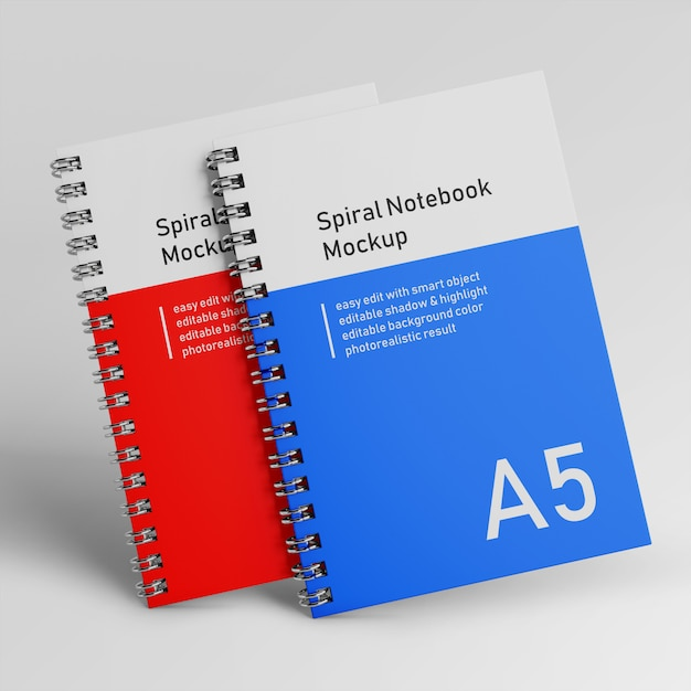 Premium two office hardcover spiral binder notepad mockup design templates in front view Premium Psd