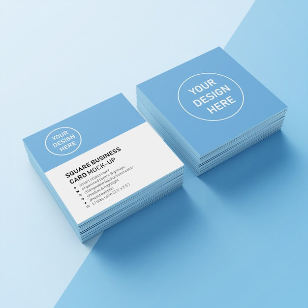 Premium Two Stacked Square Photorealistic Business Card Mockup