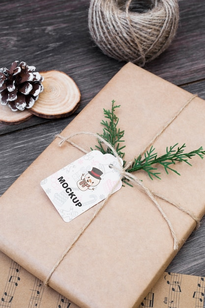Present box mockup with christmas concept Free Psd