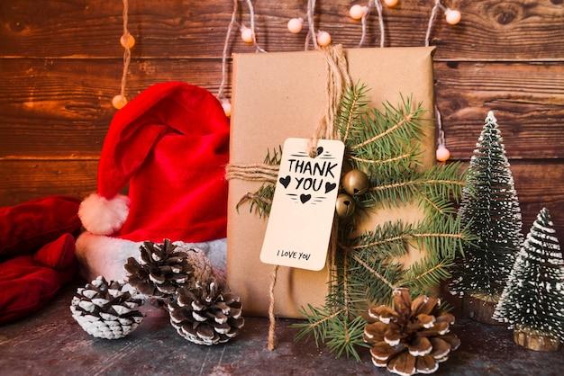 Present box mockup with christmas concept Free Psd