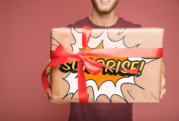 Present box mockup with gifting concept Free Psd
