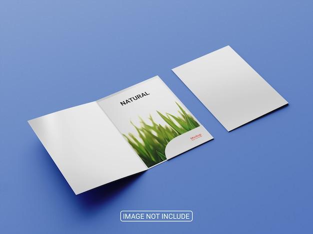 プレゼンテーションフォルダまたは2つ折りパンフレットのモックアップデザイン Premium Psd