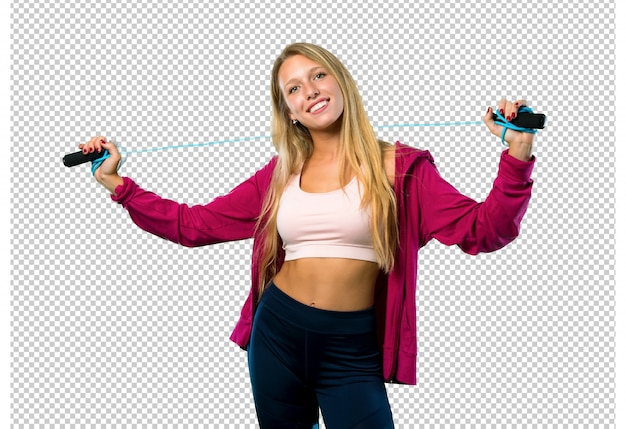 Pretty sport woman with jumping rope Premium Psd