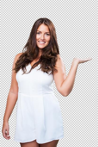 Pretty woman holding something Premium Psd