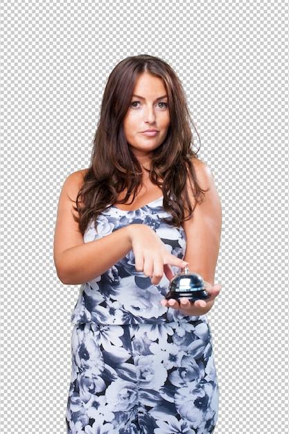 Pretty woman pressing a ringbell Premium Psd