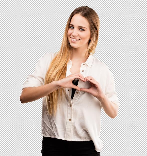 Pretty young woman in love Premium Psd