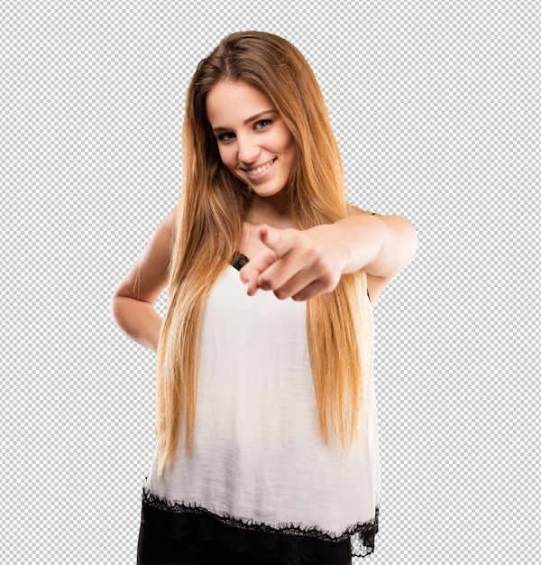Pretty young woman pointing front Premium Psd