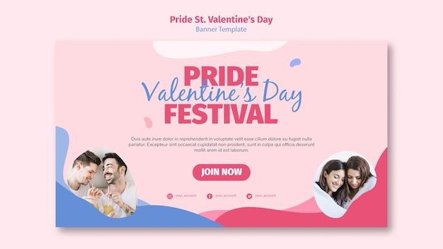 Pride st. valentine's day festival banner template Free Psd